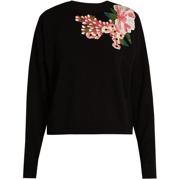 Dolce & Gabbana Floral-appliqué wool and cashmere-blend sweater (760.995 HUF) ❤ liked on Polyvore featuring tops, sweaters, black, floral print sweater, loose sweater, flower top, loose fitting tops and dolce gabbana sweaters