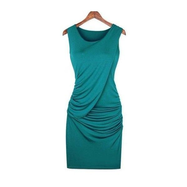 Teal Draped Dress | Style | Pinterest ❤ liked on Polyvore featuring dresses, drapey dress, teal dress, draped dress, teal blue dresses and teal green dress