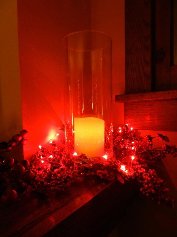 Red LED Light String/Battery by GlitterAndMasonJars on Etsy, $10.00