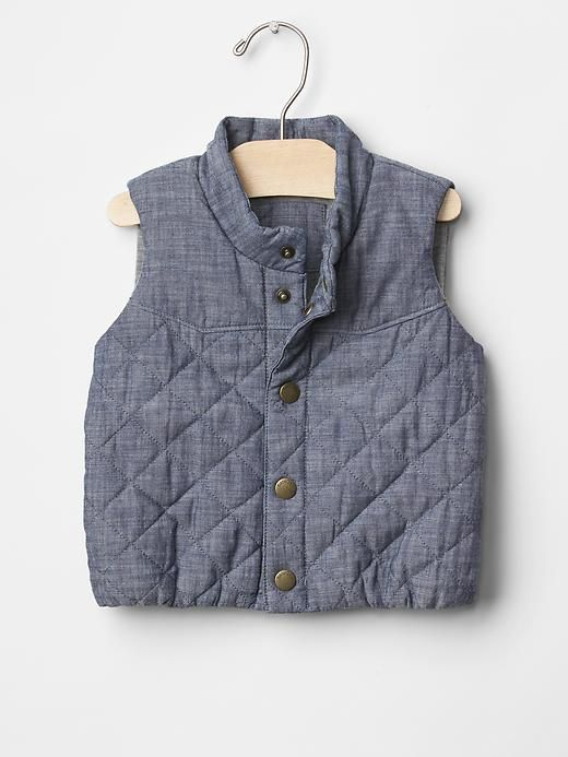 Chambray quilted vest