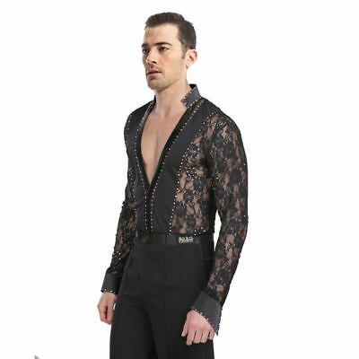 Men/'s Dancewear Set Latin Ballroom Dance Costume Rhythm Salsa Shirt+Pants Black