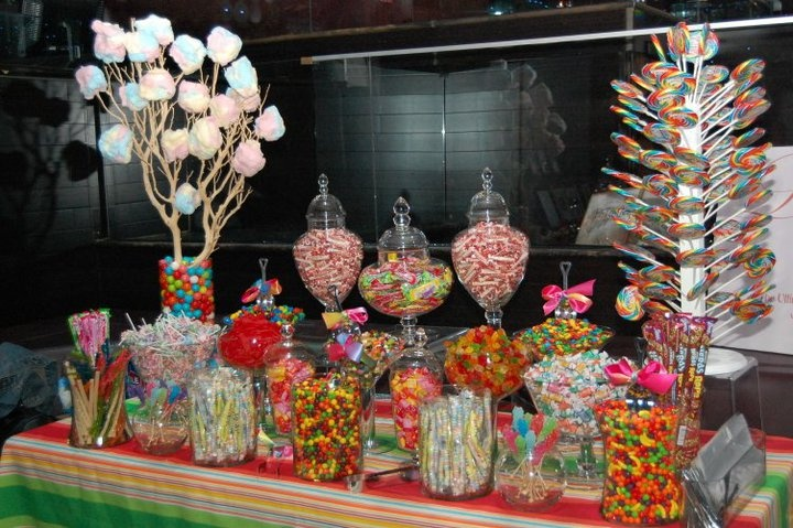 Love the lollipop tree and cotton candy tree.  Gourmet Cotton candy available at www.fluffpop.com   Pic only - dead link