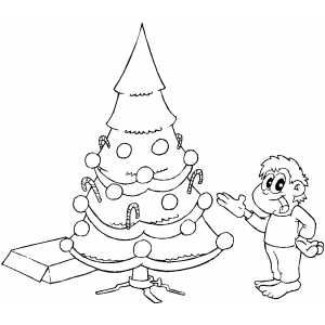 Boy Pointing To Tree Coloring Page