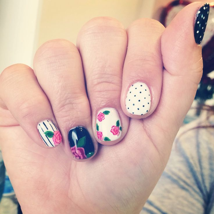 365 Days Of Nail Art March 2014: Spring Nail Art, Roses, Stripes, Polka Dots, Gel Manicure