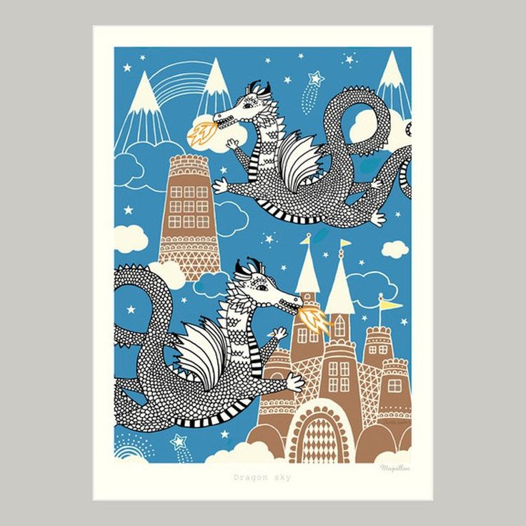 Majvillan ~ Dragon Sky poster 50x70 cm - SovrumsShoppen.se