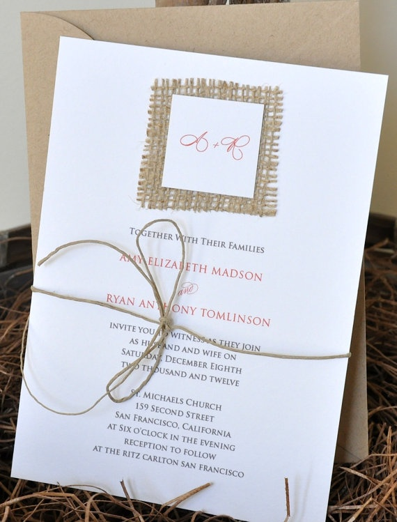 Square Burlap Wedding Invitation Suite by avisualconcept on Etsy, $75.00