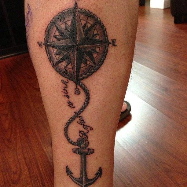 Nautical compass and anchor nautical compass n anchor for Tattoo tip percentage