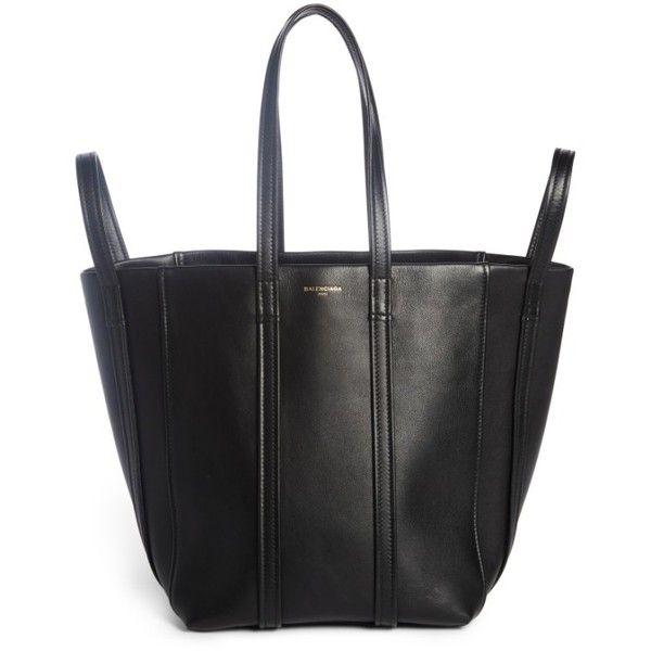 Women's Balenciaga Small Laundry Cabas Calfskin Tote (€1.915) ❤ liked on Polyvore featuring bags, handbags, tote bags, noir, shopping tote bags, balenciaga tote bag, shopping tote, balenciaga and calfskin leather handbags