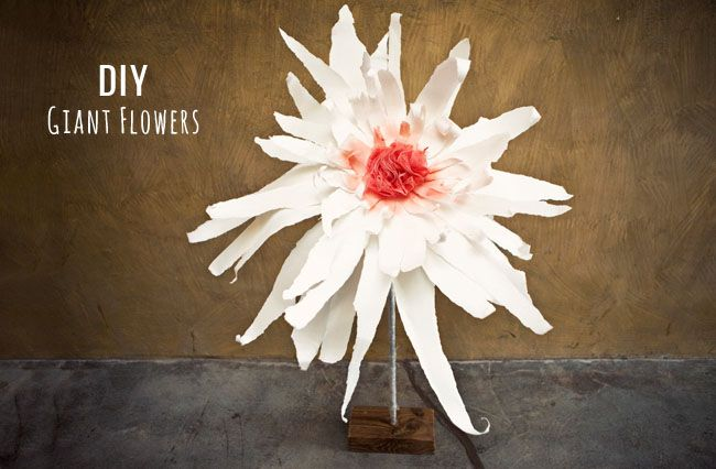 DIY big flowers - ripped posterboard and bath poof!  Kids would have a blast helping make these!