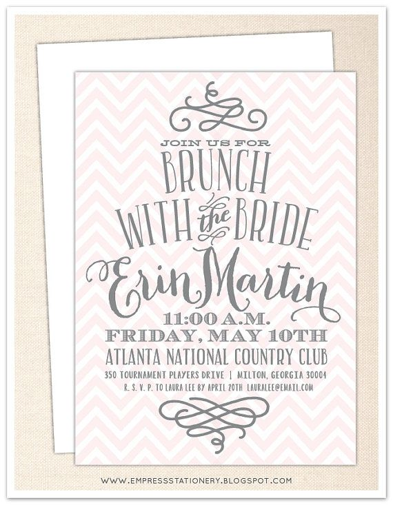 chevron and swirl bridal brunch invitation 5 x 7 white envelope