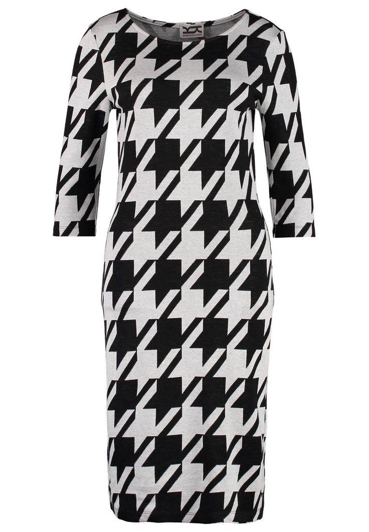 Kilian Kerner Senses HOUSTON Sukienka dzianinowa black/ecru sukienka w pepitkę czarno-biała