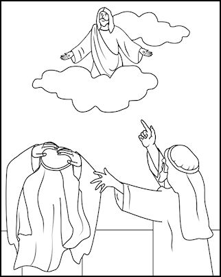 Revelation 19-22; Jesus Christ Will Return-Jesus Returns Coloring Page (Note: Most Ascension pictures can also be used for Jesus' second coming.)