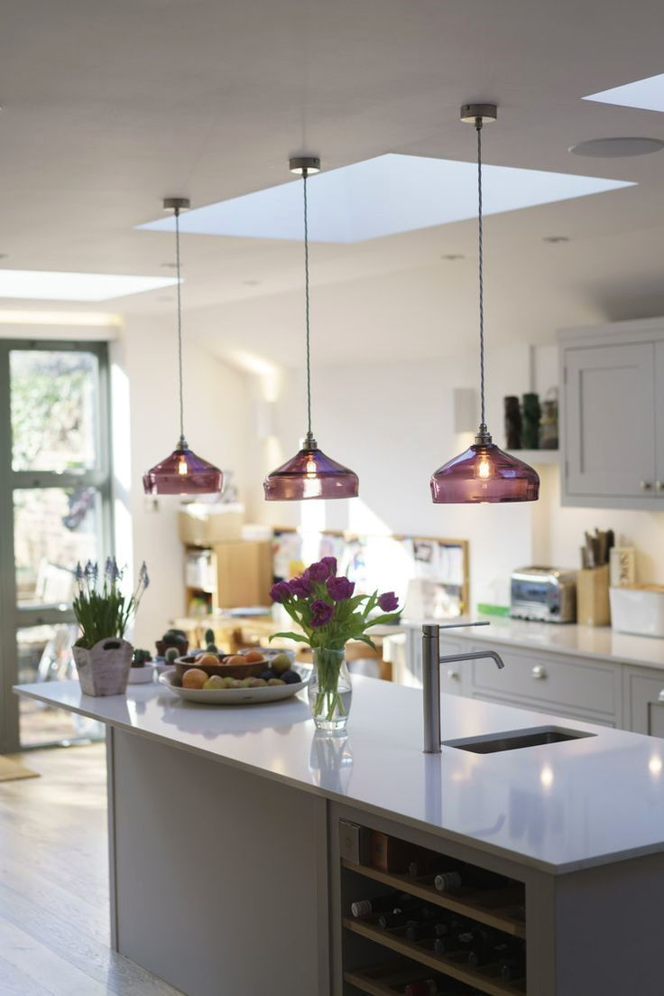 Hanging Glass Pendant Lights In Purple Above A Kitchen Island The Retro Sh Kitchen Island Lighting Kitchen Island Lighting Pendant Kitchen Lighting Fixtures
