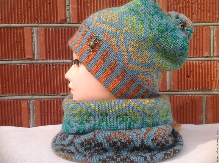 Купить Жаккардовый комплект №3 - комбинированный, жаккард, шапка, шарф, комплект вязаный, орнамент, помпон