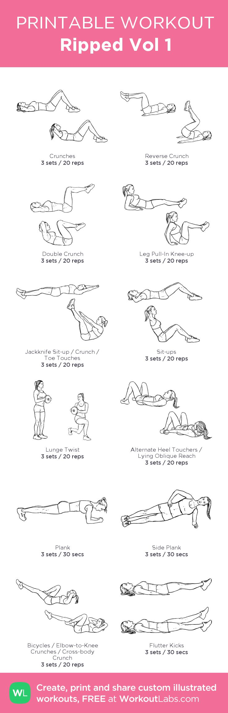 Ripped Vol 1: my visual workout created at WorkoutLabs.com • Click through to customize and download as a FREE PDF! #customworkout