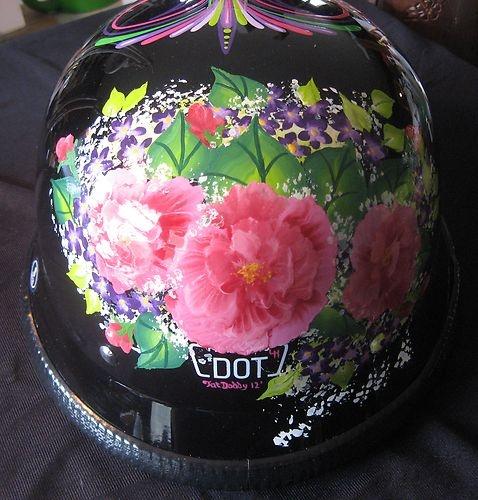 Art Pinstriped Flowers Ladies Tattoo German Motorcycle Helmet Chopper Bobber | eBay