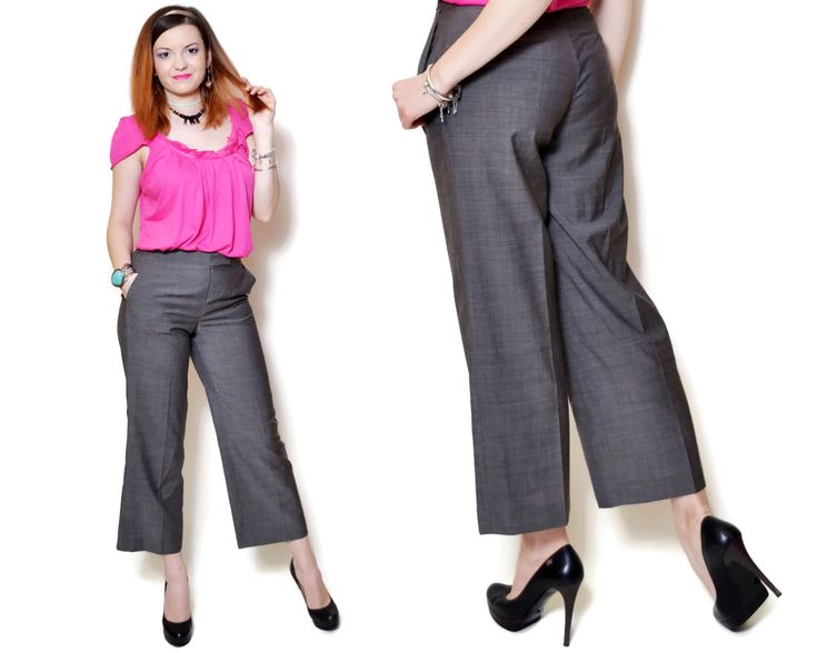 Vintage elegant grey wool pants.  The model on the pictures is size S/36 and 165 cm height. Please check measurements with your own to avoid problems with the size. Make sure you double the measurements where shown (*2):  Label size: S/36 Total lenght: 92 cm / 36.25 inches Waist: 33.5 cm *2 / 13.25 inches *2 Hips: 48.5 cm *2 / 19.25 inches *2 Thigh: 28 cm *2 / 11 inches *2 Lenght from the crotch to bottom: 66 cm / 26 inches Bottom width: 23.5 cm *2 / 9....