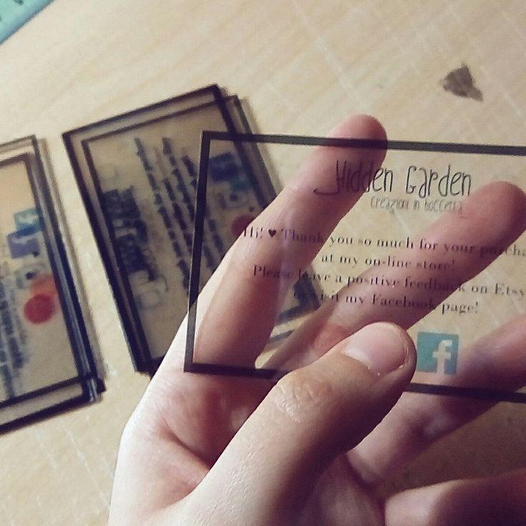 Nuovo anno e nuovi biglietti da visita trasparenti, anch'essi rigorosamente realizzati a mano! ♡