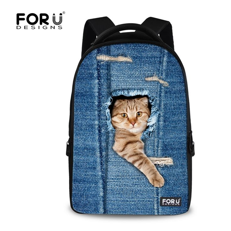 (34.99$)  Know more  - FORUDESIGNS Vintage Women School Backpacks Denim Cat Print Travel Laptop Bagpack for Female Ladies Animal Women's Mochilas Mujer
