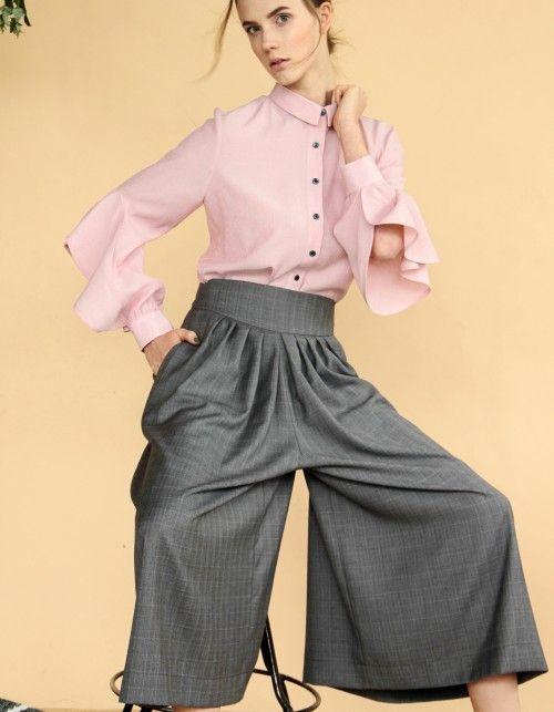 Spodnie palazzo z szarej wełenki w lekką kratę