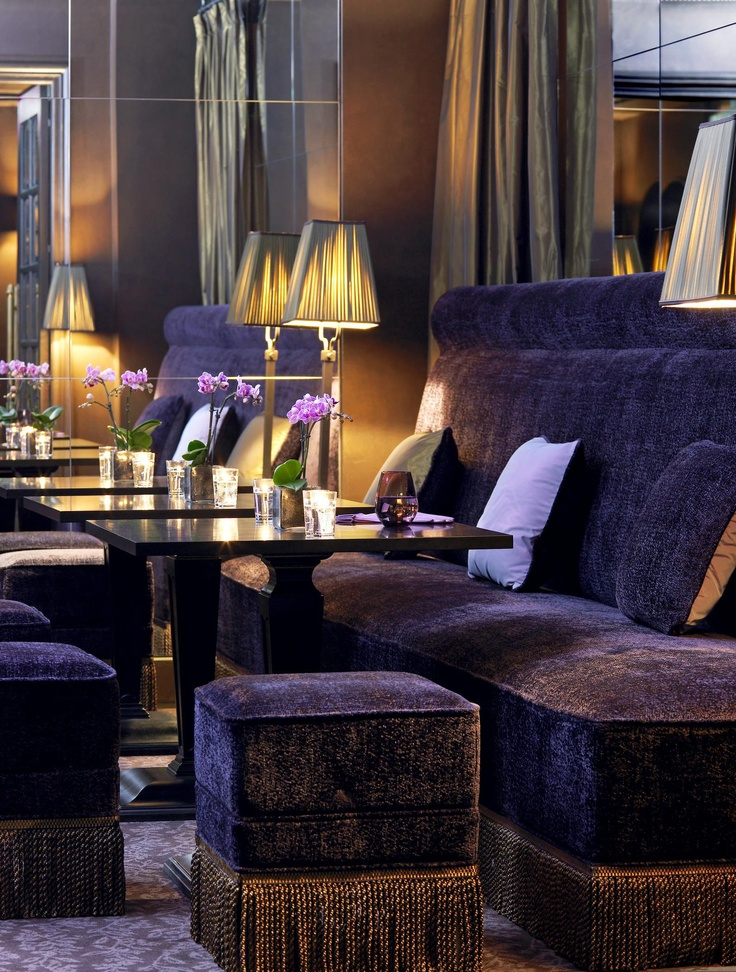 love the purple velvet banquette stools with bullion fringe seems so regal and rich - Purple Hotel Decor