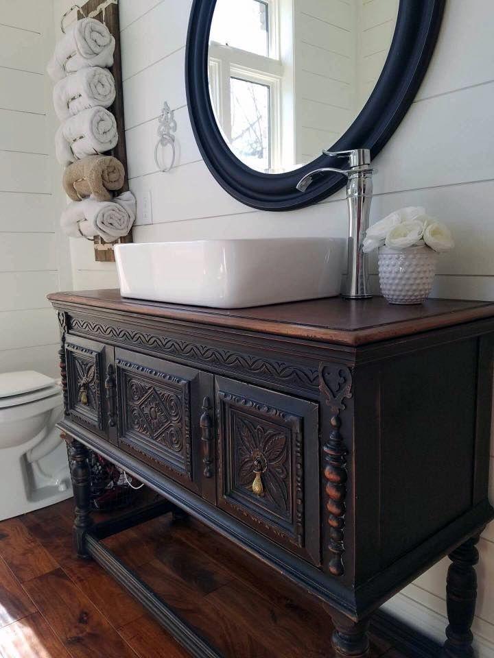 diy distressed bathroom vanity%0A Lamp Black Bathroom Vanity