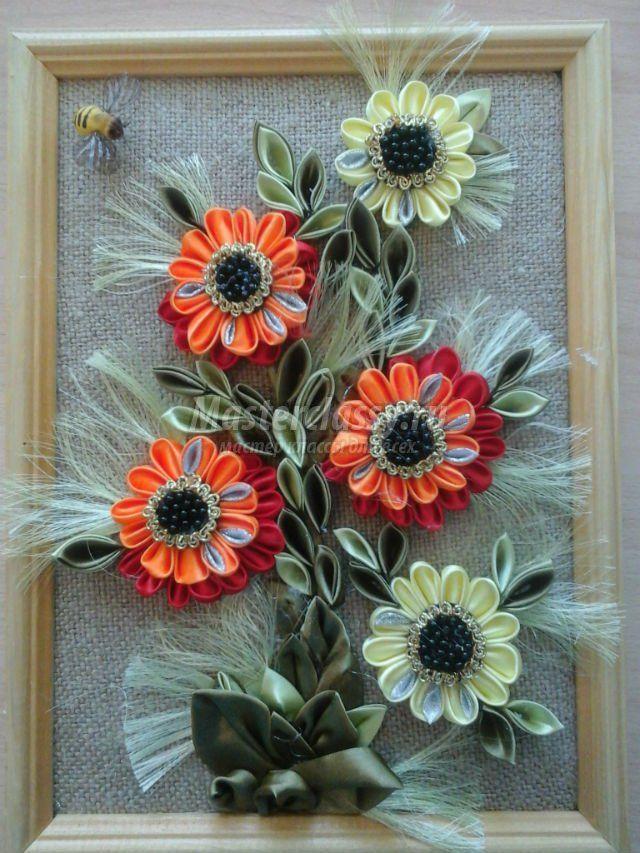 картина в технике канзаши. Цветы для мамы