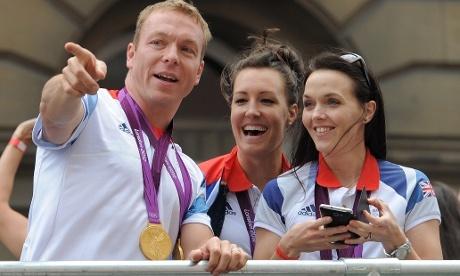 Cyclists Sir Chris Hoy, Dani King and Victoria Pendleton.