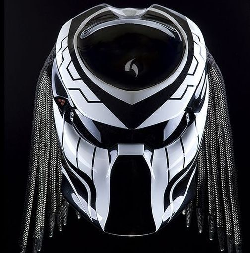 Custom Alien Predator Motorcycle Dot Approved Helmet-Black And White by…