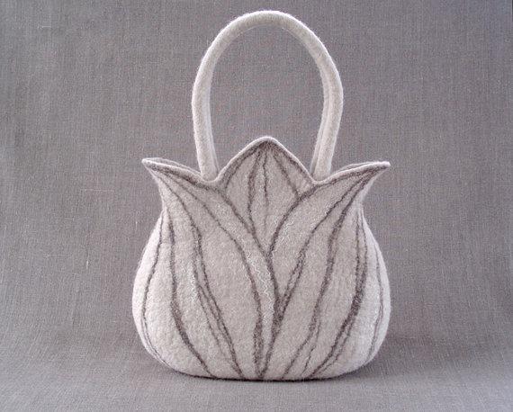 Felted handbag Tulip creme white by EthicStyle on Etsy, $76.00