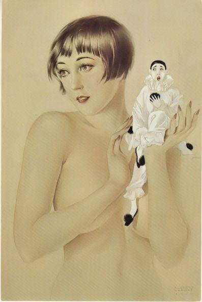 Alberto Vargas Model w/ Pierrot 1919 Art Card Reproduction (1979) #Vintage