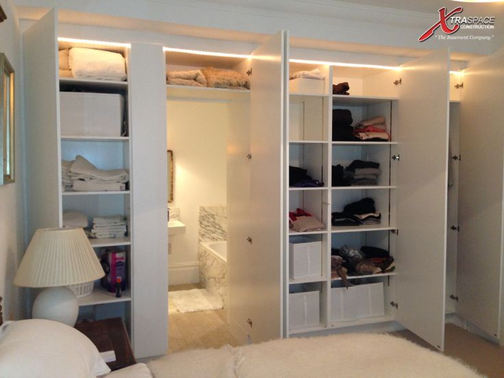 Cute way to utilize basement storage. However, I would not want this in a master bedroom! I would rather have a walk-in closet.