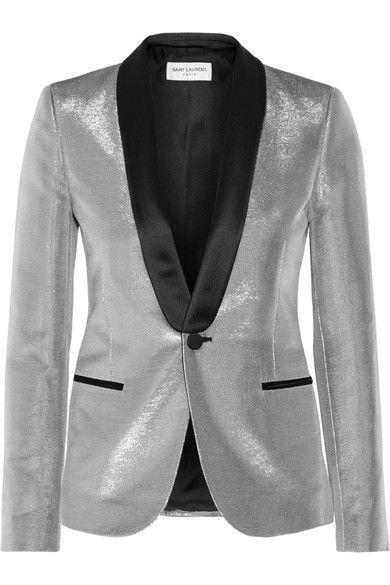 Saint Laurent - Satin-trimmed Lamé Tuxedo Blazer - Silver - FR38