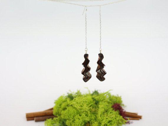Greek Black Thunder Earrings Avocado seed Unique by CosmiziAvocado