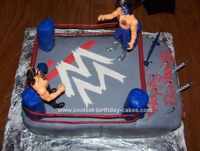 Homemade Wrestling Birthday Cake: We used 2 cake mixes for this Wrestling Birthday Cake. One chocolate and one white. The cake was frosted with homemade whipped cream frosting, can be found