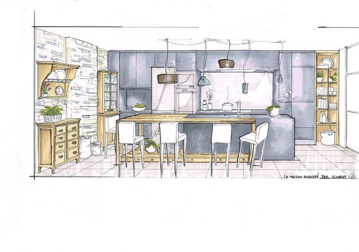 Croquis Cuisine Moderne & Héritage #LaMaisonAgencéeParSilvent