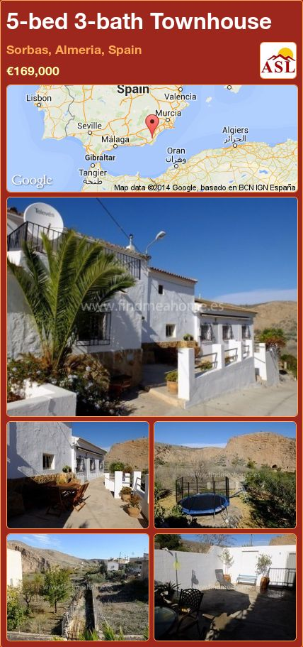 5-bed 3-bath Townhouse in Sorbas, Almeria, Spain ►€169,000 #PropertyForSaleInSpain