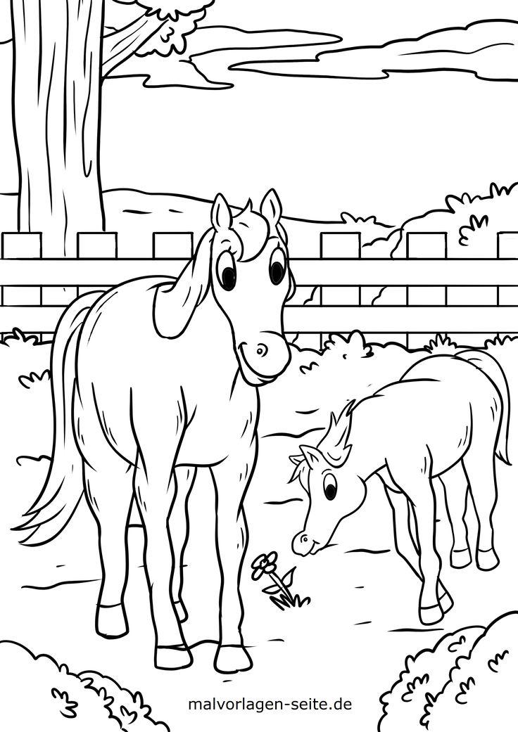 unique ausmalbild pferd mit fohlen färbung malvorlagen