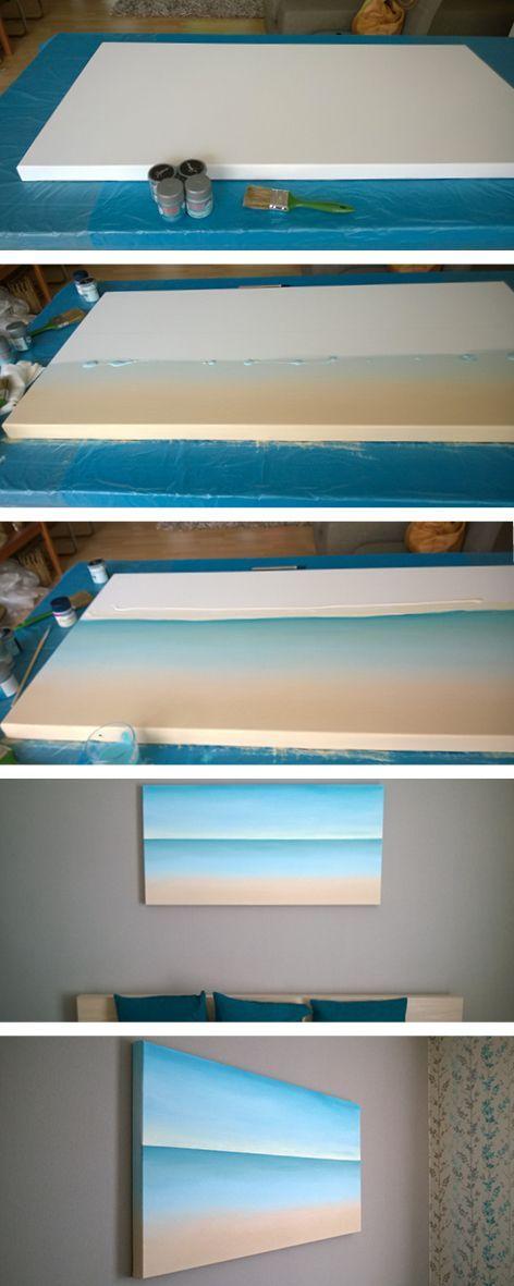 DIY-Meer auf Leinwand, DIY canvas-painting beach -…