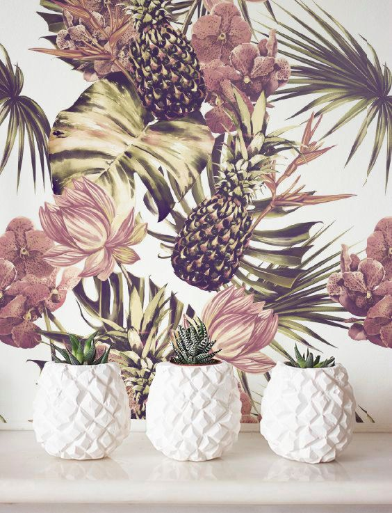 Tropical Wallpaper, Removable Wallpaper, Self-adhesive Wallpaper, Wall Décor, Jungle Wallcovering - JW089