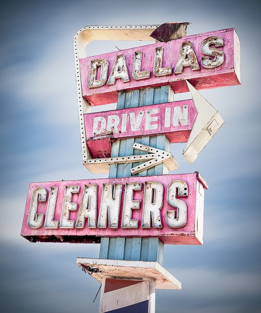 House name sign..? Dallas Drive In Cleaners by Shakes The Clown, via Flickr.