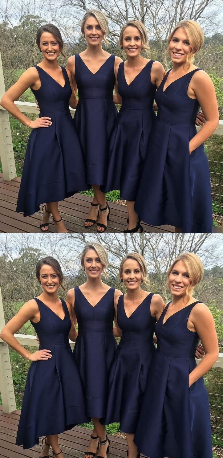 Cheap Bridesmaid Dresses, Bridesmaid Dresses Cheap, Satin Bridesmaid Dresses, Bridesmaid Dresses Short, Short Bridesmaid Dresses, Navy Bridesmaid Dresses, Cheap Sexy Dresses, Sexy Bridesmaid Dresses, Asymmetrical Bridesmaid Dresses, Navy Asymmetrical Bridesmaid Dresses, Asymmetrical Short Bridesmaid Dresses, High-Low Bridesmaid Dresses Dark Navy Sexy A-line Satin Asymmetrical Bridesmaid Dresse