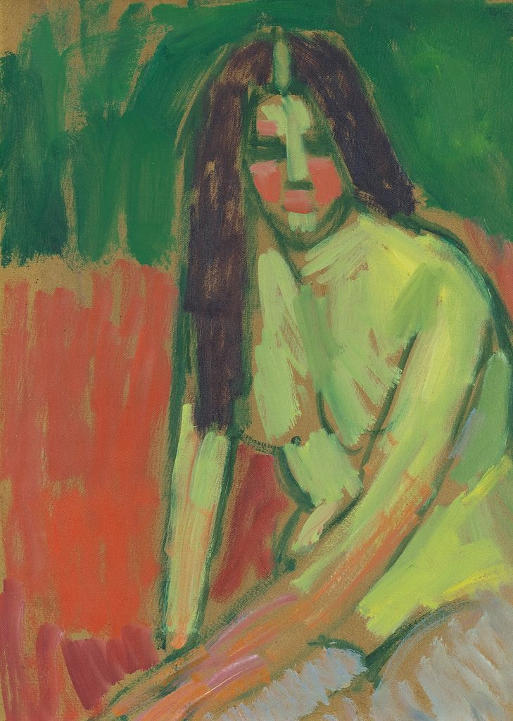 Half-nude figure with long hair sitting bent by Alexej von Jawlensky