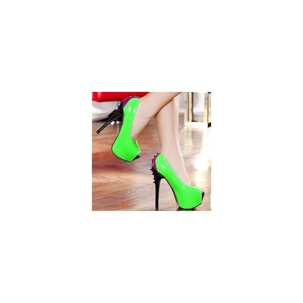 Neon High Heels ❤ liked on Polyvore featuring shoes, pumps, fluorescent shoes, neon shoes, high heel shoes and neon high heel shoes