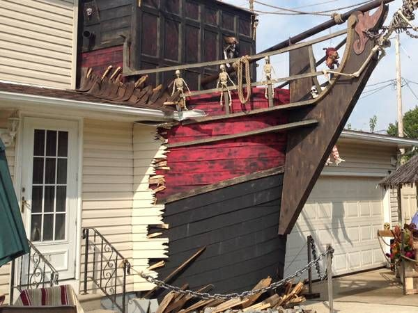 spotted pirate ship busting through a house 00j0j_ikbx36vkqjj_600x450jpg - Pirate Halloween Decorations