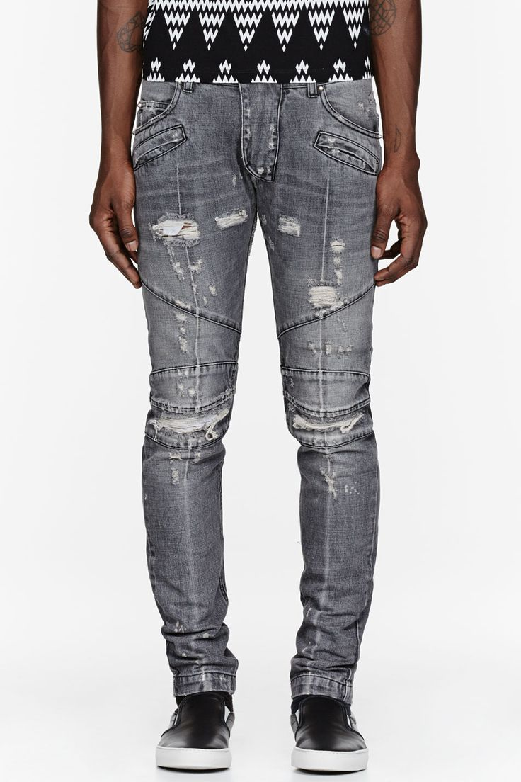 PIERRE BALMAIN - Black Super Skinny Distressed Biker Jeans