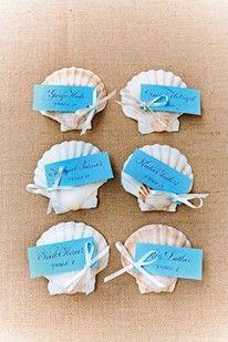 Seaside-inspired DIY decorations Shell Escort Cards (BridesMagazine.co.uk)