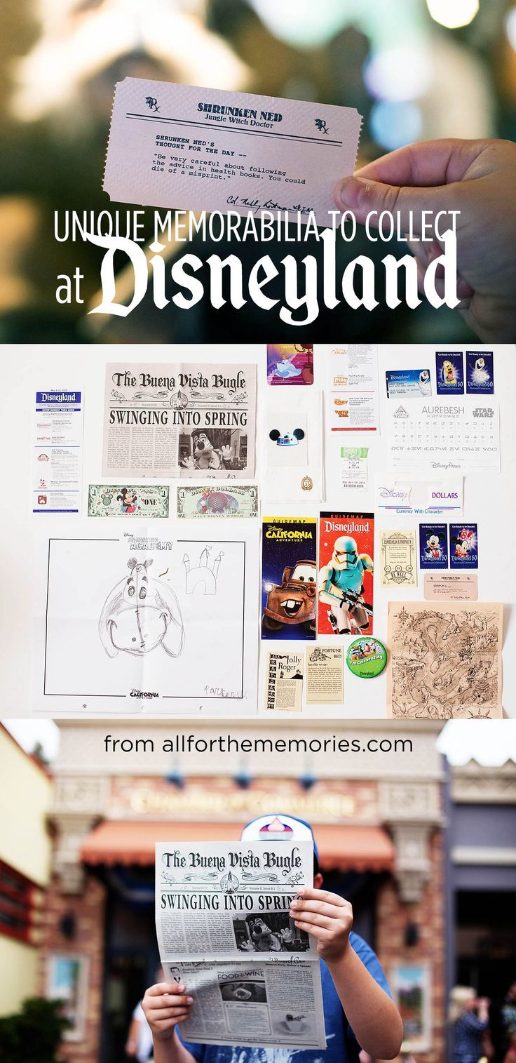 Memorabilia to collect at Disneyland.  My family and I are going to the happiest place on Earth this December and will definitely collect some of these.  I am saving for future Disneyland clients as well.  #DisneyTravelPlanner #Disneyland