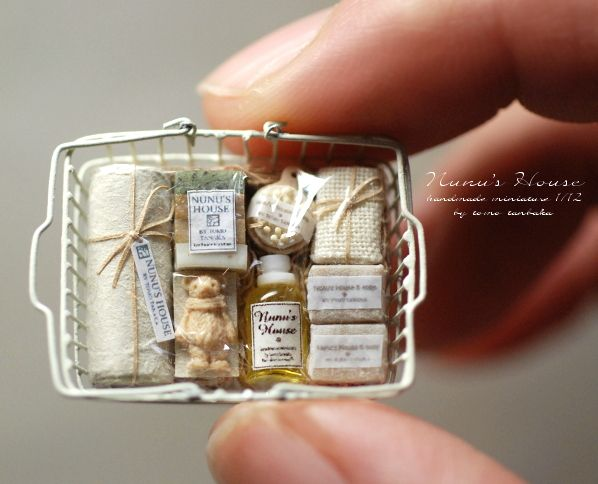 Basket of dollhouse bathroom toiletries (Image only) | Source: Nunu's House