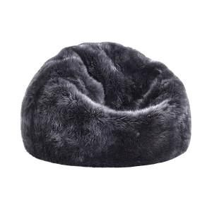 pouf rond peau de mouton gris acier 60x52 mon chalet design peaux de b te pinterest. Black Bedroom Furniture Sets. Home Design Ideas